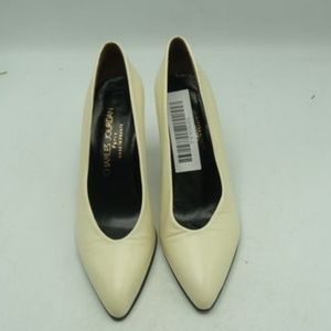 Charles Jourdan - Ivory Almond-Toe Leather Heels